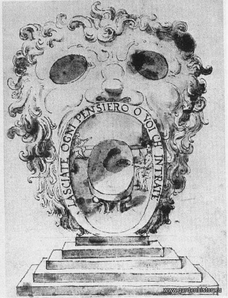 Бомарцо. Павильон-маска. Рисунок Джованни Гуэрра. 1590-е